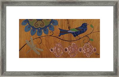 Framed Print featuring the mixed media Contemporary Whimsical Bird On A Wire In Pastel-like Colors With Flowers And Dragonfly by M Zimmerman
