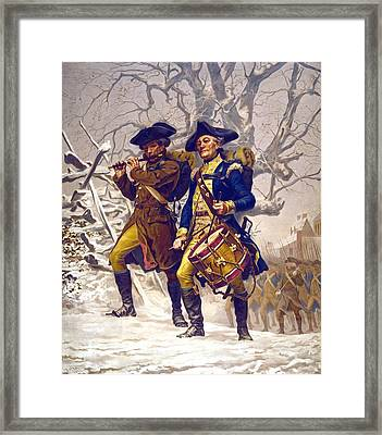 Continental Army Color Guard, Playing Framed Print by Everett