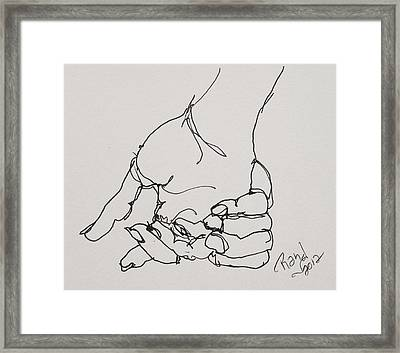 Framed Print featuring the drawing Contour Hand Study 01 by Rand Swift