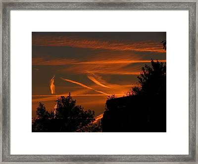 Contrails At Play Framed Print by Nikki McInnes