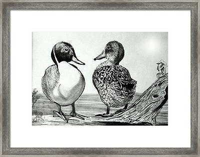 Conversation Between Feathered Friends Framed Print