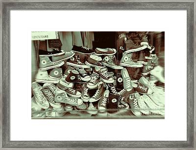 Converse Running Shoe In Window Framed Print by Helen  Bobis