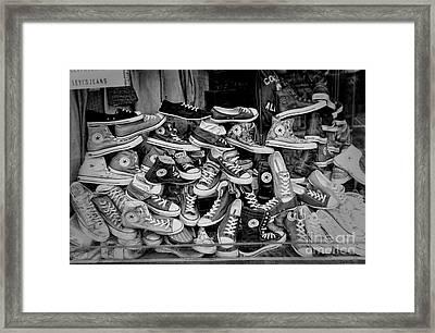 Converse Running Shoes Framed Print by Helen  Bobis