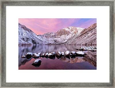 Convict Lake Sunrise With Fresh Snow Framed Print by Justin Reznick Photography