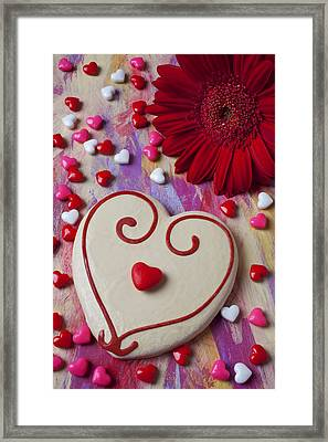 Cookie And Candy Hearts Framed Print by Garry Gay