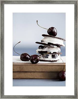 Cookies With Ice Cream And Cherries Framed Print