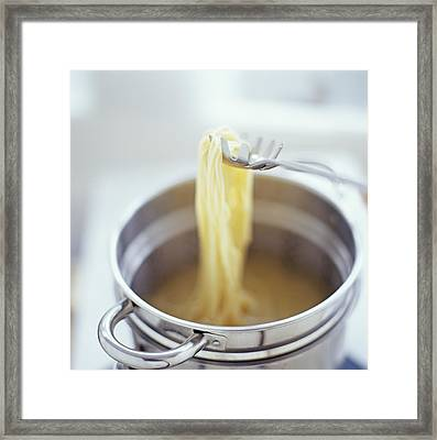 Cooking Spaghetti Framed Print