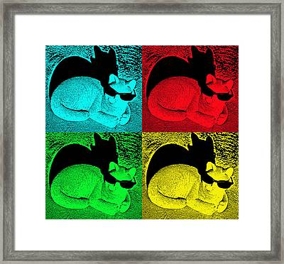 Cool Cat Pop Art Framed Print by Aimee L Maher Photography and Art Visit ALMGallerydotcom