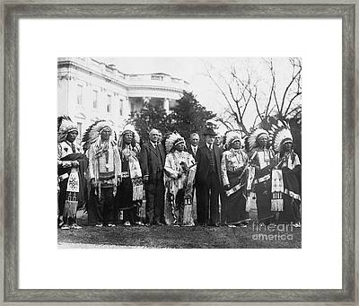 Coolidge With Native Americans Framed Print by Photo Researchers