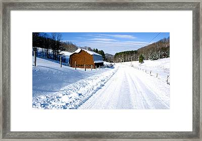 Coon Creek Road And Snow Framed Print