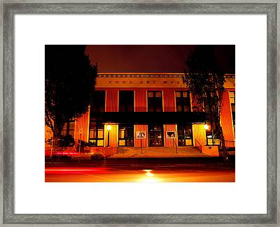 Coos Art Museum At Night In Coos Bay Framed Print by Gary Rifkin