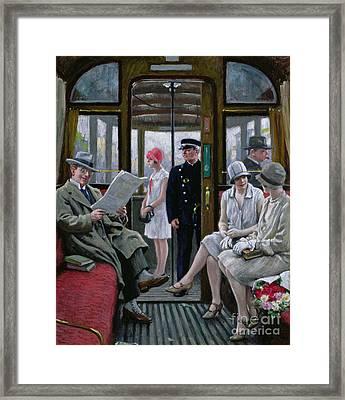 Copenhagen Tram Framed Print by Paul Fischer