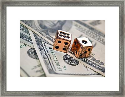 Copper Dice And Money Framed Print by Susan Leggett