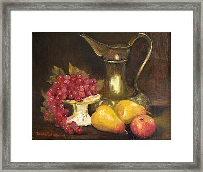 Copper Pitcher With Fruit Framed Print by Aurelia Nieves-Callwood