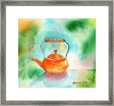 Copper Tea Kettle Framed Print by Sharon Mick