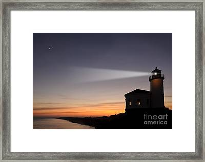 Coquille River Lighthouse Framed Print by John Shaw and Photo Researchers
