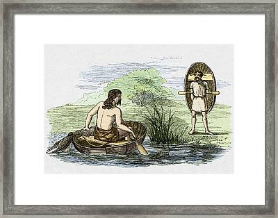 Coracle Boats Of The Ancient Britons Framed Print by Sheila Terry