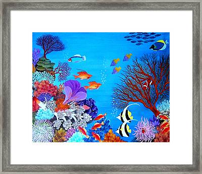 Framed Print featuring the painting Coral Garden by Fram Cama