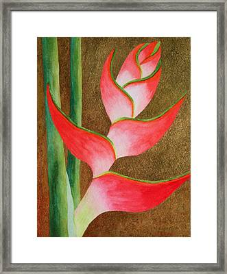 Coral Lobster Claw Heliconia With Gold Leaf Framed Print by Kerri Ligatich