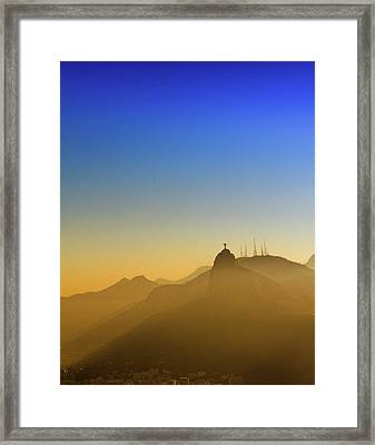 Corcovado Mountain And Christ Redeemer At Sunset Framed Print by Antonello