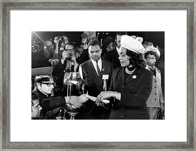 Coretta Scott King Lights Candle Framed Print