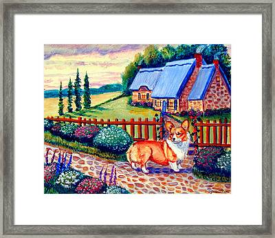 Corgi Cottage Home Fires Framed Print by Lyn Cook