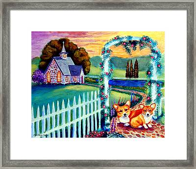 Corgi Cottage Sunday Framed Print by Lyn Cook