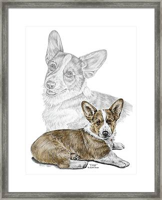 Framed Print featuring the drawing Corgi Dog Art Print Color Tinted by Kelli Swan