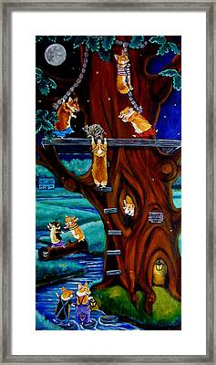 Corgi Secret Hideout Framed Print by Lyn Cook