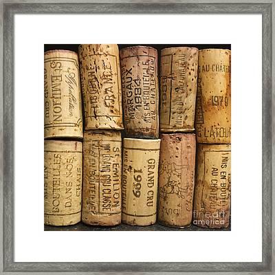 Corks Of Fench Vine Of Bordeaux Framed Print by Bernard Jaubert