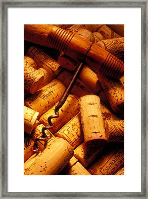 Corkscrew And Wine Corks Framed Print by Garry Gay