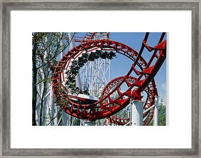 Corkscrew Coil On A Rollercoaster Ride Framed Print by Kaj R. Svensson