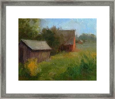 Corn Crib And Barn Solebury Framed Print