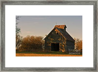 Corn Crib At Sunset Framed Print by Edward Peterson