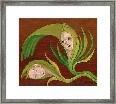 Corn Love Fantastic Realism Faces In Green Corn Leaves Sleeping Or Dead Loving Or Mourning Gree Framed Print