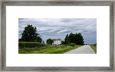 Corn Storm Clouds Horse Dirt Road Old House Framed Print