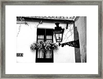 Framed Print featuring the photograph Corner Light Black And White by Rick Bragan