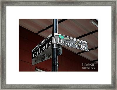 Corner Of Bourbon Street And Orleans Sign French Quarter New Orleans Accented Edges Digital Art Framed Print