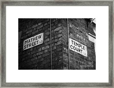 Corner Of Mathew Street And Temple Court In Liverpool City Centre Birthplace Of The Beatles  Framed Print by Joe Fox