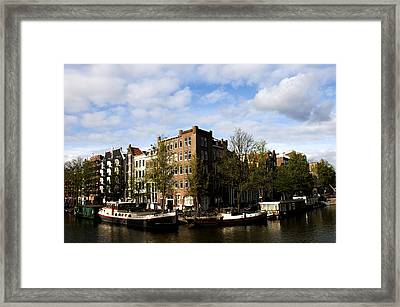 Corner Of Prinsengracht And Brouwersgracht Framed Print by Fabrizio Troiani
