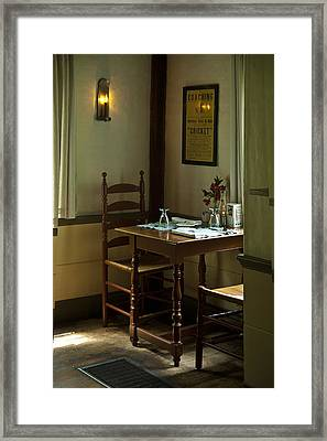 Corner Table Framed Print by Lee Fortier