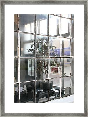 Corner Windows And Plant Framed Print by Peter Veljkovich