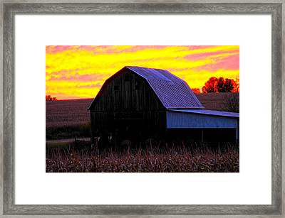 Framed Print featuring the photograph Cornfield Barn Sky by Randall Branham