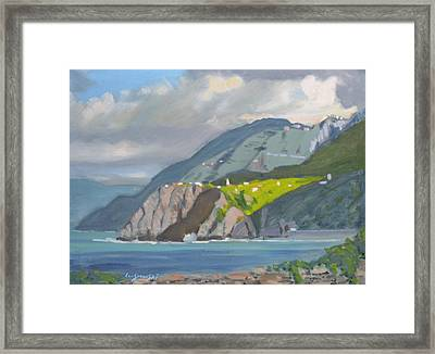 Framed Print featuring the painting Corniglia Cinque Terra Italy by Len Stomski
