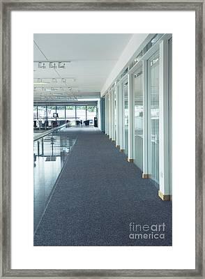 Corridor In A Modern Office Framed Print by Iain Sarjeant