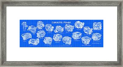 Framed Print featuring the drawing Corvette Power - Corvette Engines Blueprint by K Scott Teeters