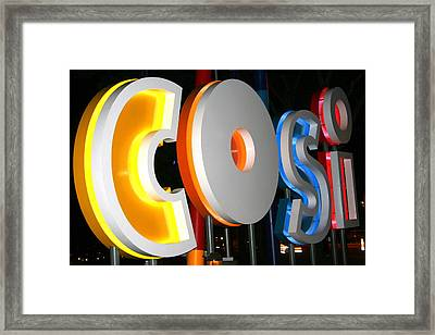 Cosi In Neon Lights Framed Print