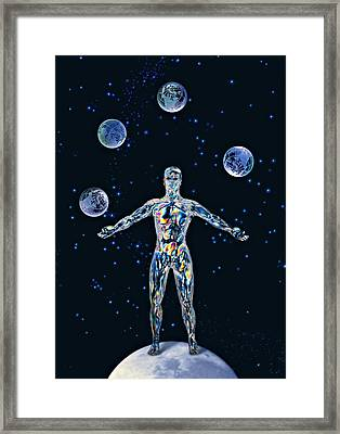 Cosmic Man Juggling Worlds, Artwork Framed Print by Paul Biddle
