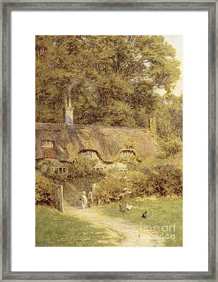 Cottage At Farringford Isle Of Wight Framed Print by Helen Allingham