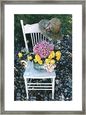 Cottage Chic Yellow Roses Garden Art Framed Print by Kathy Fornal